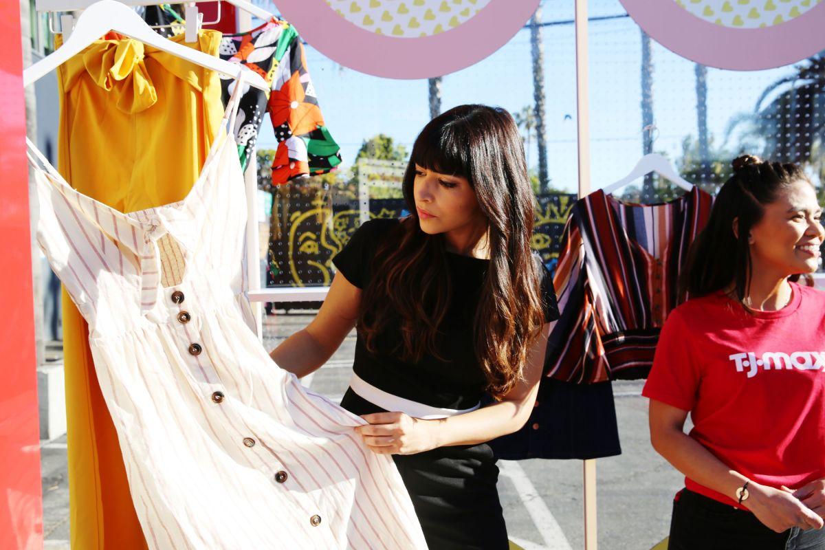 Hannah Simone at a T.J. Maxx shopping event in Venice, California. Photo: Rachel Murray/Getty Images for T.J. Maxx