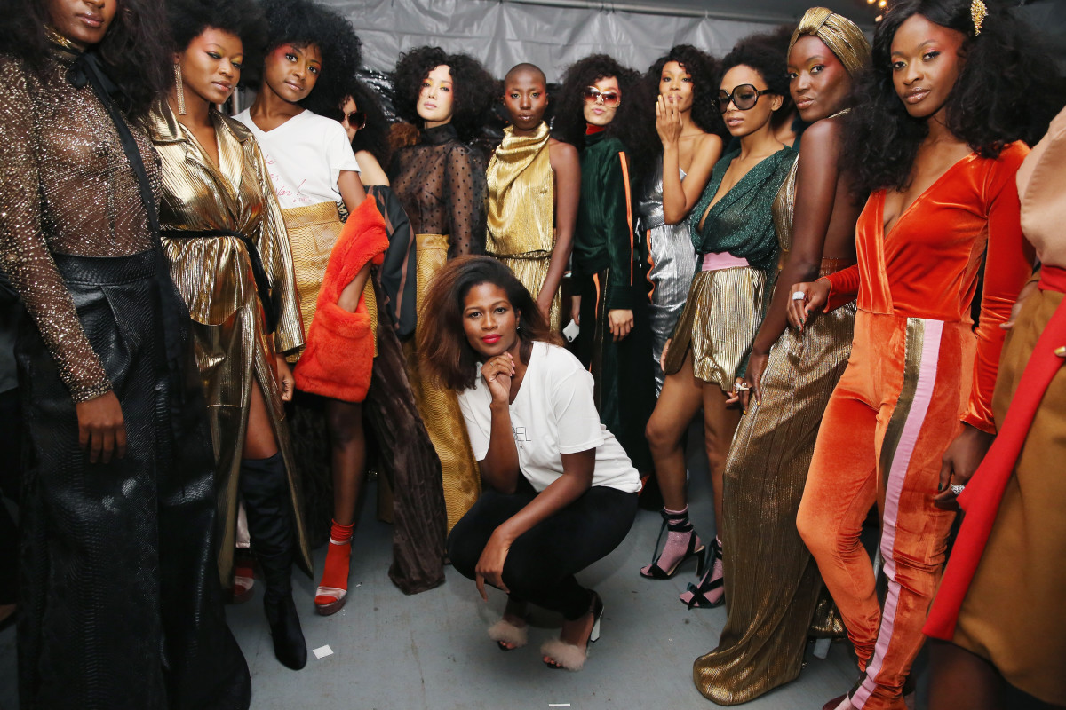 Designer Fe Noel backstage during Harlem Fashion Row's 2017 fashion show in New York City. Photo: Mireya Acierto/Getty Images