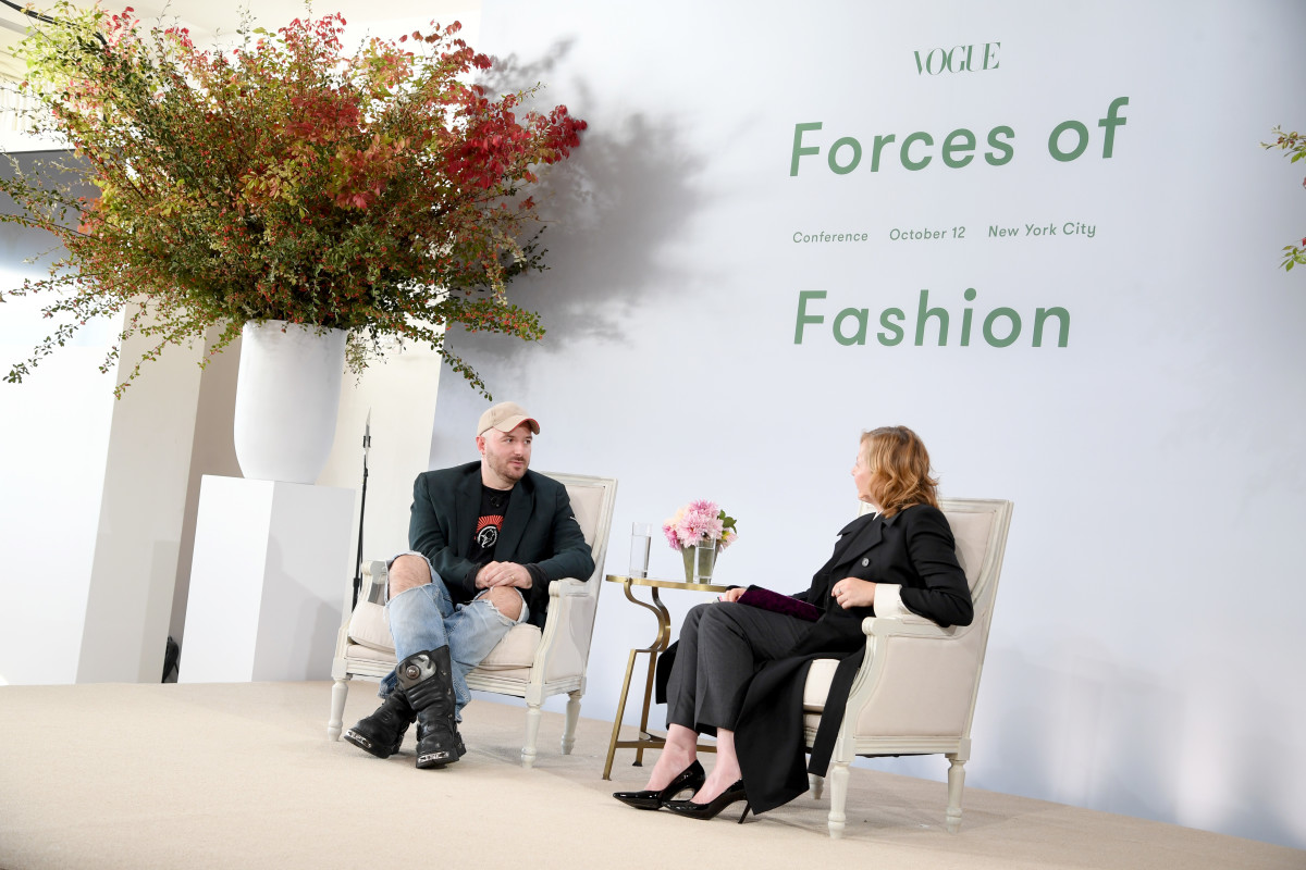 Demna Gvasalia and Sarah Mower at the 2017 Vogue Forces of Fashion conference. Photo: Dimitrios Kambouris/Getty Images