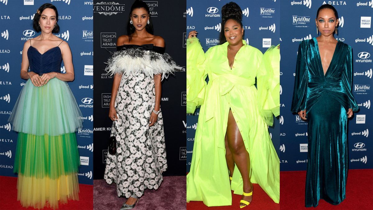 L-R: Mishel Prada, Imaan Hammam, Lizzo and Logan Browning. Photo: Getty Images