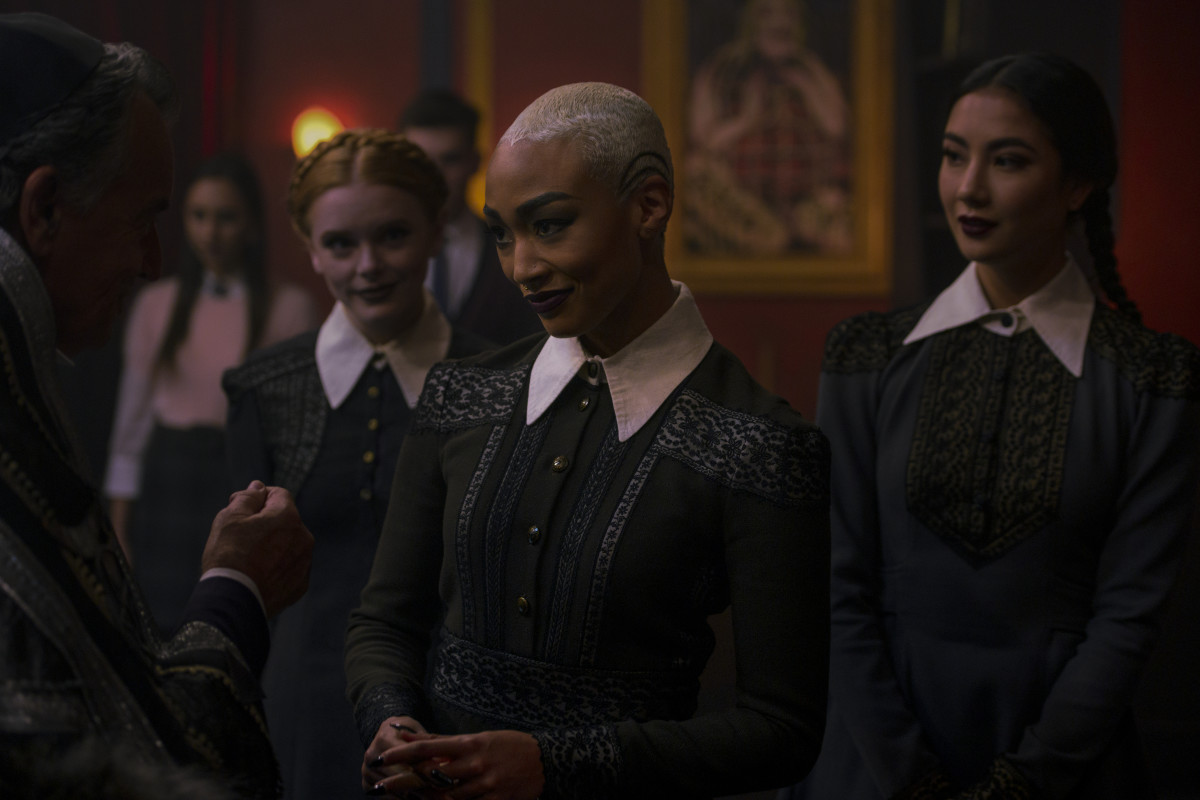 L-R: Abigail F. Cowen as Dorcas, Gabrielle as Prudence and Adeline Rudolph as Agatha in season two of 'Chilling Adventures of Sabrina.' Photo: Diyah Pera/Courtesy of Netflix