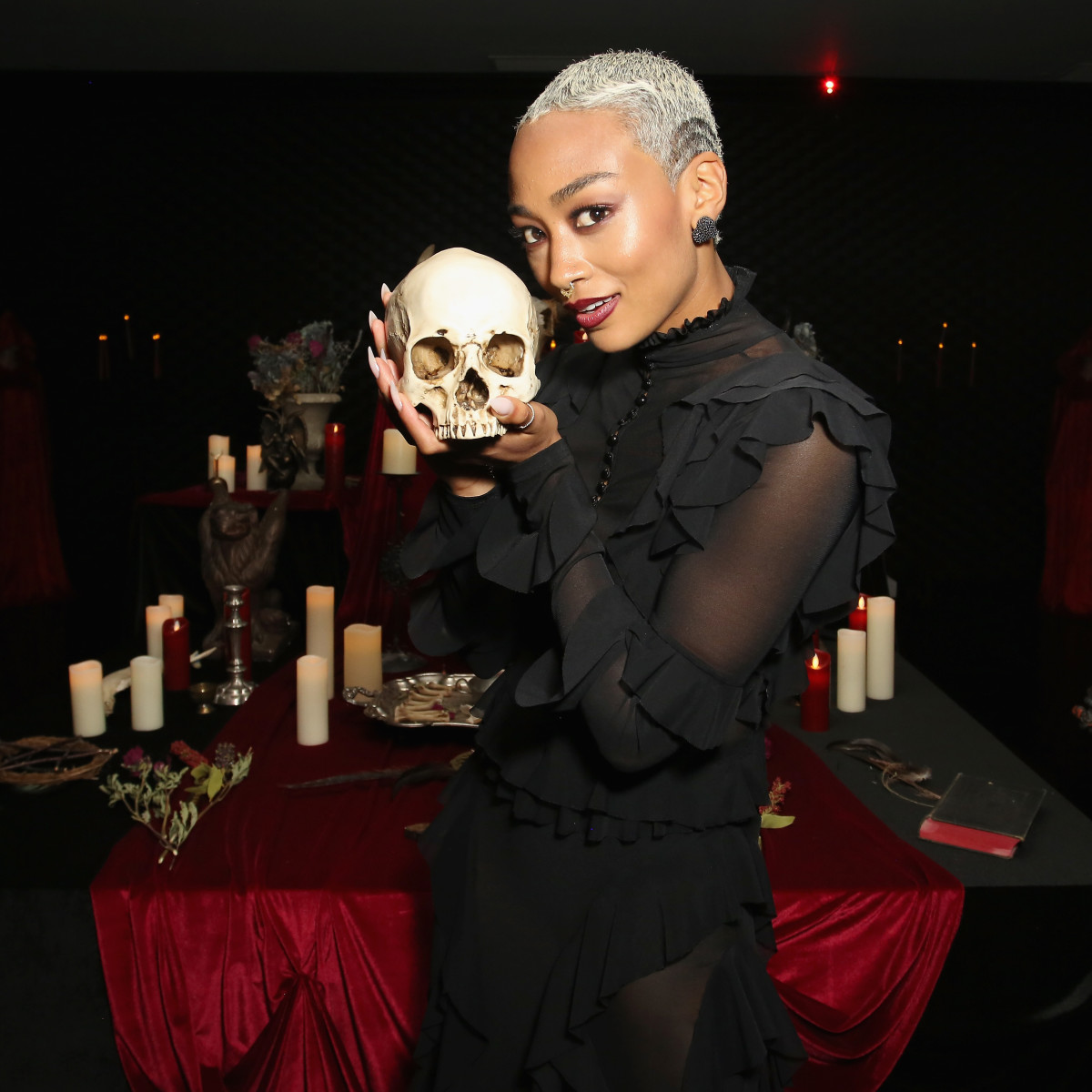Tati Gabrielle and a guest at the 'Chilling Adventures of Sabrina' premiere in October 2018. Photo: Rachel Murray/Getty Images for Netflix