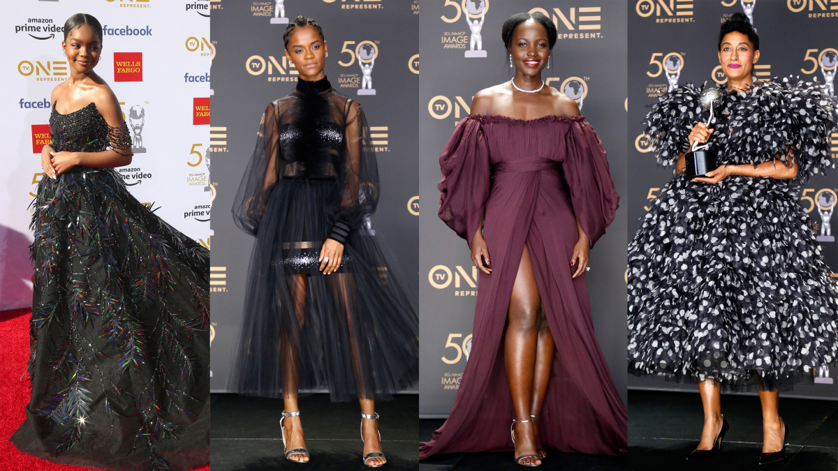 L-R: Marsai Martin, Letitia Wright, Lupita Nyong'o and Tracee Ellis Ross. Photo: Getty Images