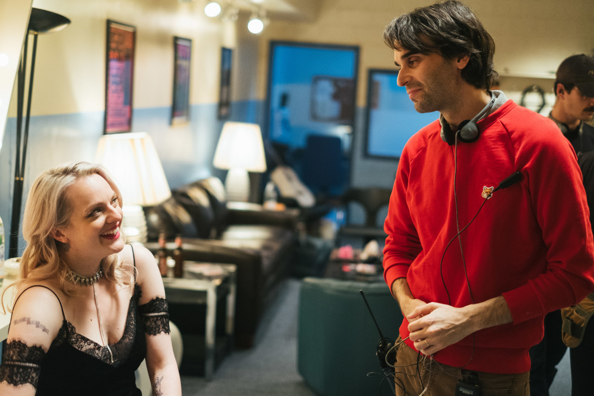 Moss, in her final look, chats with director Alex Ross Perry on set. Photo:Don Stahl/Courtesy of Gunpowder & Sky