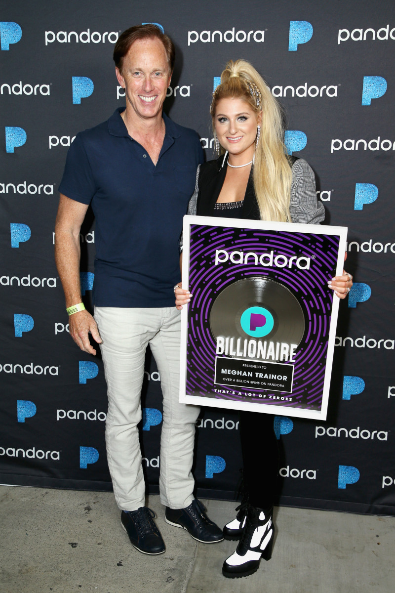Roger Lynch with  Meghan Trainor at the Pandora Presents: Pop Coast Hits event in Los Angeles. Photo: Phillip Faraone/Getty Images