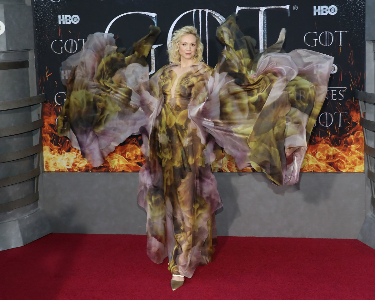 """Gwendoline Christie in Iris Van Herpen at the Season 8 premiere of """"Game of Thrones"""" in New York City. Photo: Taylor Hill/Getty Images"""