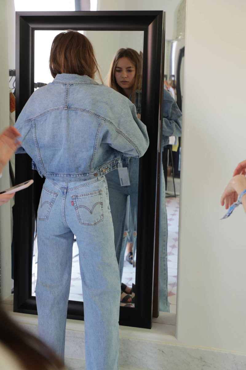 A guest being fitted in Ribcage jeans. Photo: Courtesy of Levi's