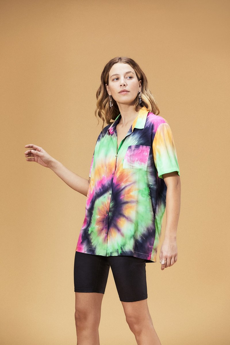 Veda Belize Button Down Top Summer Tie Dye, $238, available here.