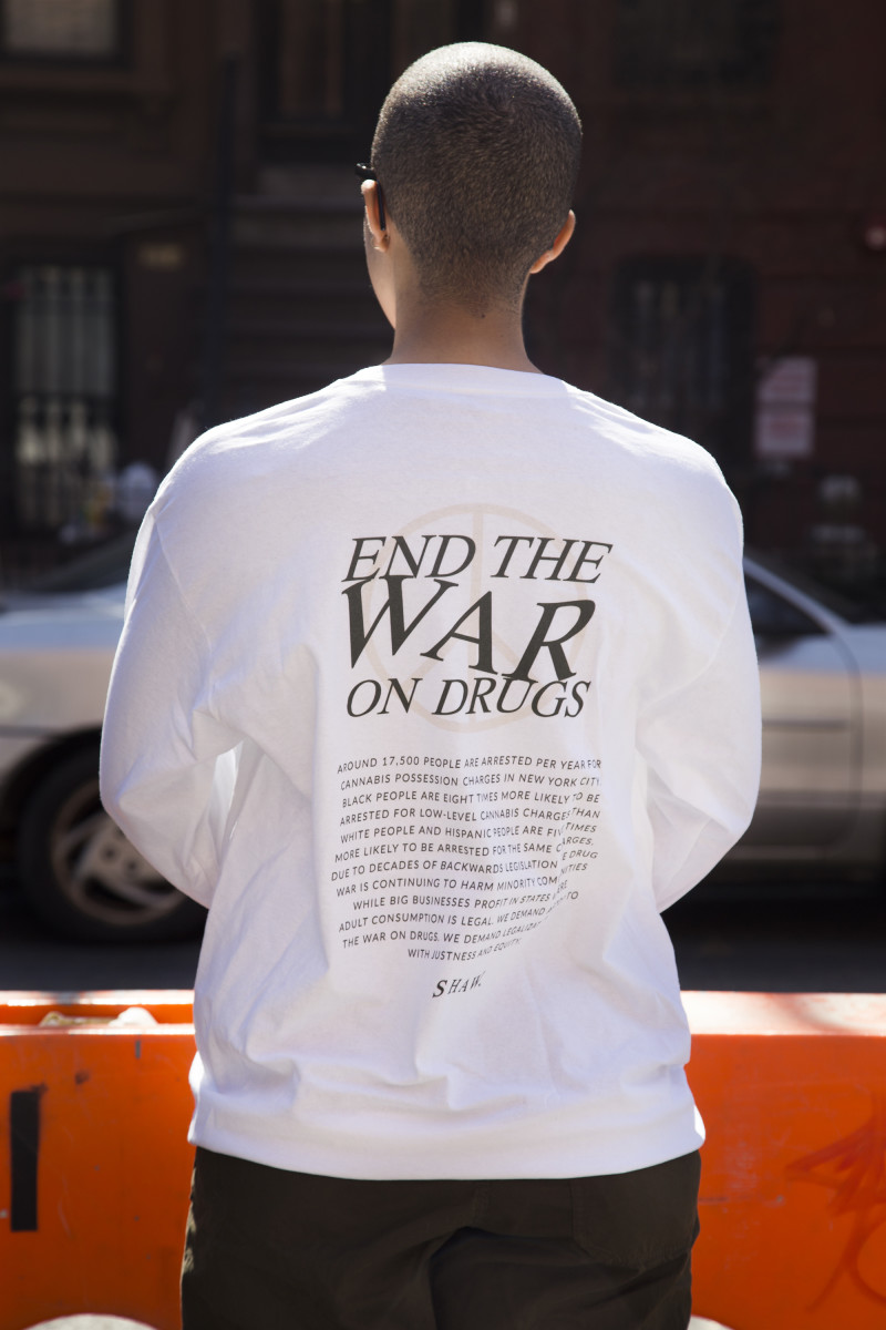 "Shaw ""End the War on Drugs"" long-sleeve, $45, available here."