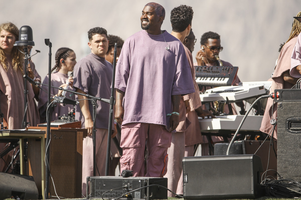 Kanye West performing Sunday Service at Coachella. Photo: Rich Fury/Getty Images for Coachella