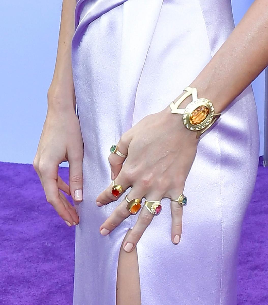 Brie Larson's Irene Neuwirth jewelry. Photo: Amy Sussman/Getty Images
