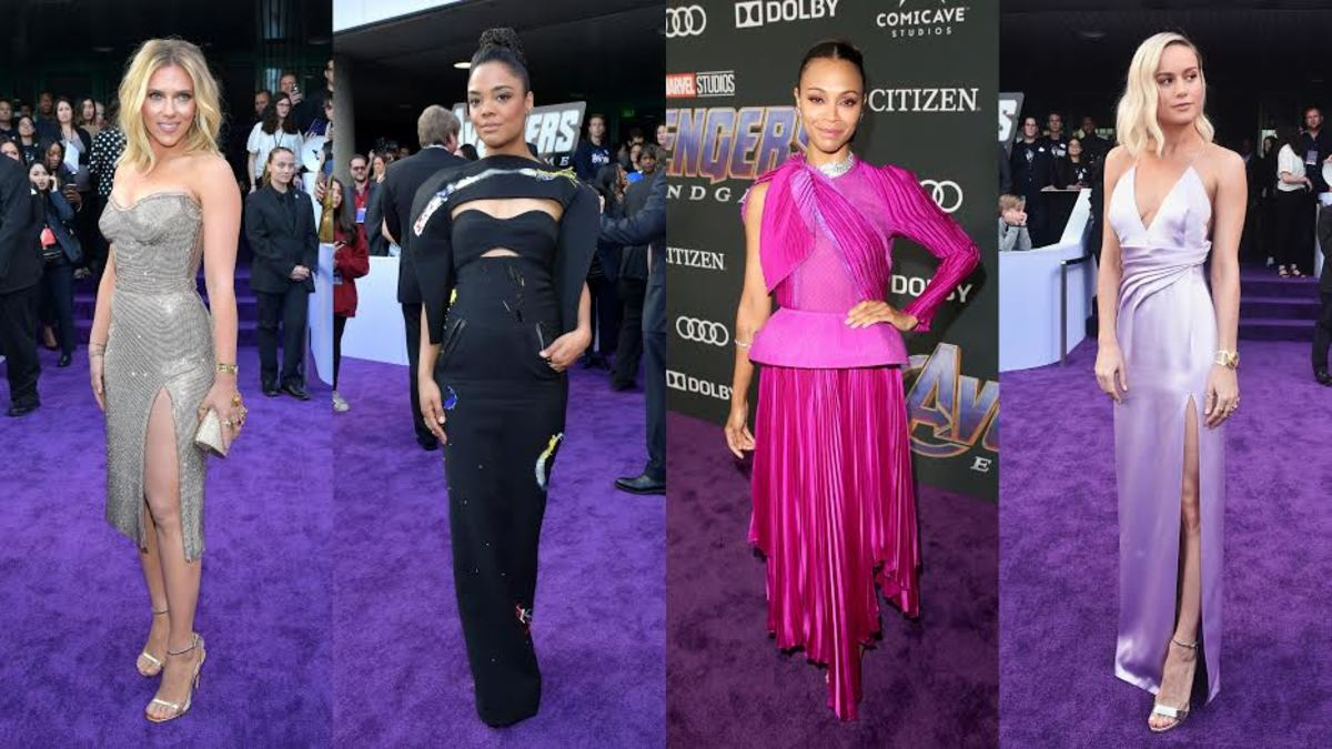 """Scarlett Johansson, Tessa Thompson, Zoe Saldana and Brie Larson at the premiere of """"Avengers: Endgame"""" in Los Angeles. Photos: Getty Images"""