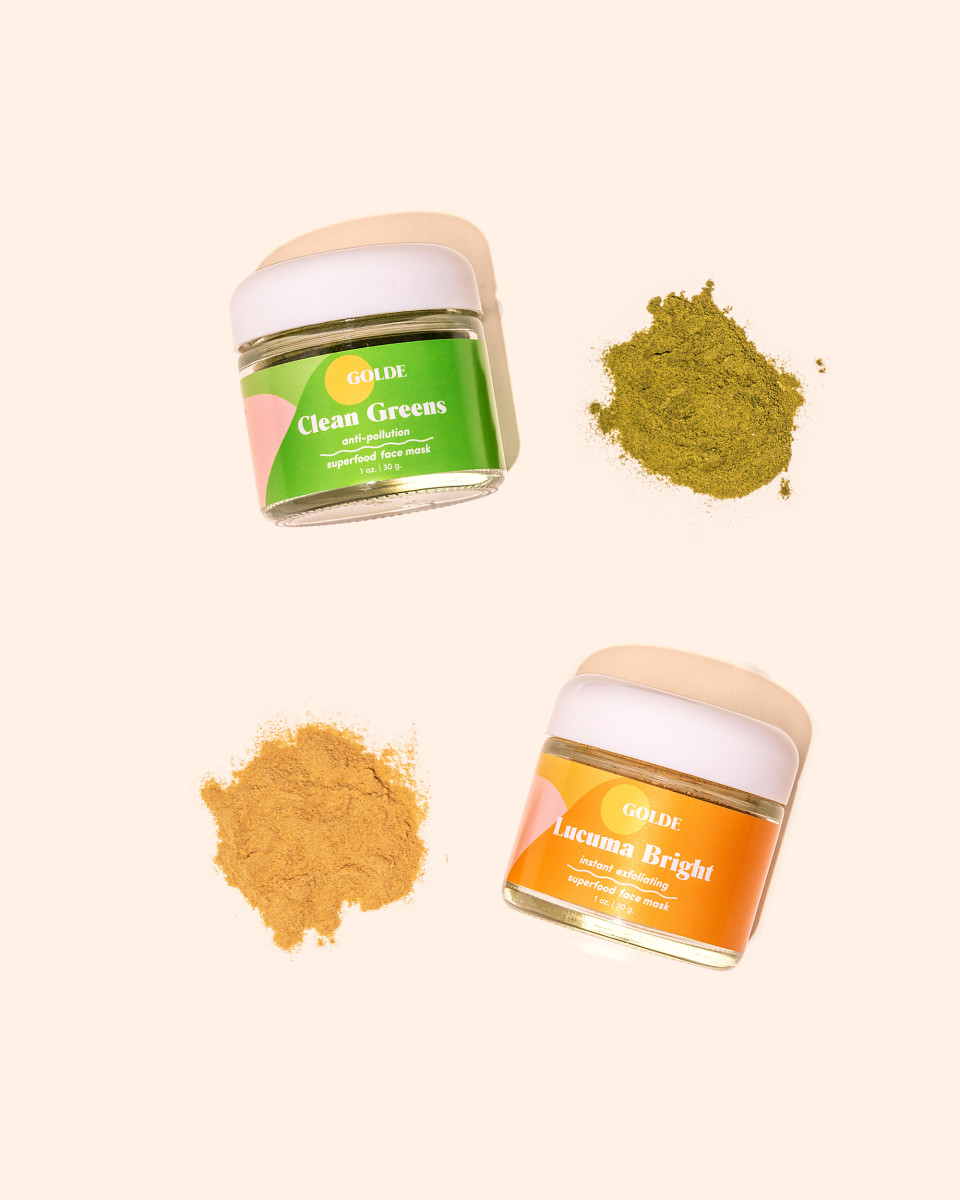 Golde's newly launched Clean Greens and Lucuma Bright face masks. Photo: Courtesy of Golde
