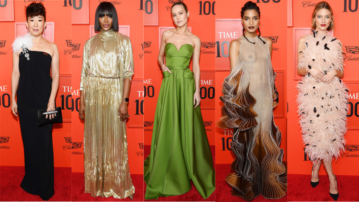 """Sandra Oh, Naomi Campbell, Brie Larson, Indya Moore and Martha Hunt at the """"Time"""" 100 Gala in New York City. Photos: Dimitrios Kambouris/Getty Images"""