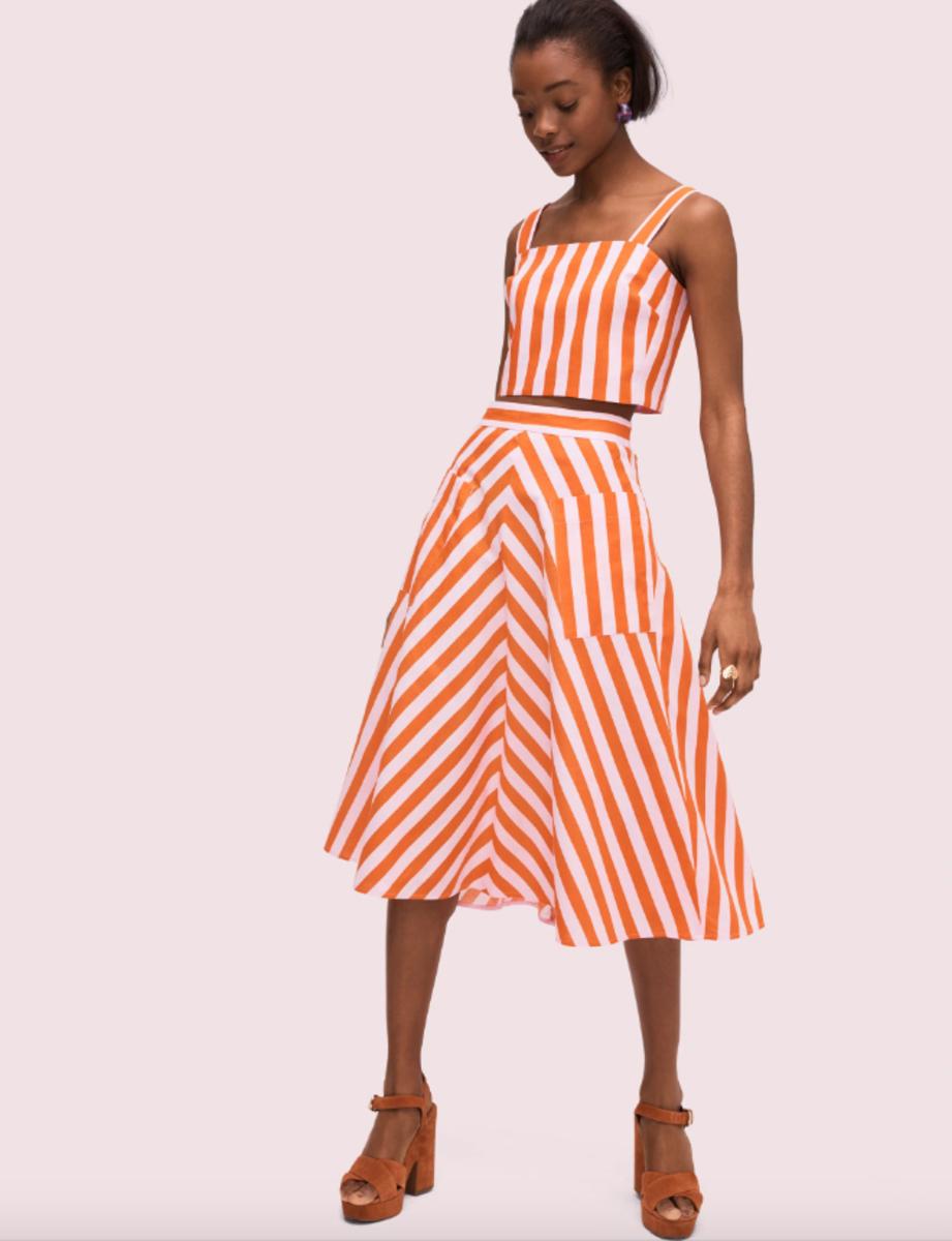 Kate Spade New York Deck Stripe Midi Skirt, $228, available here, and Deck Stripe Crop Top, $128, available here.
