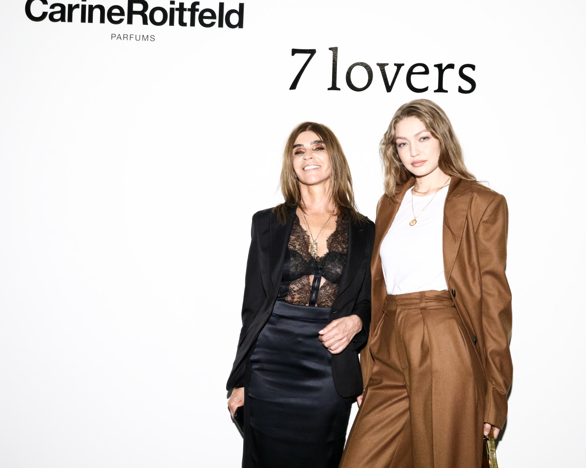 Carine Roitfeld with Gigi Hadid at the launch of the Carine Roitfeld Parfums pop-up in NYC. Photo: BFA