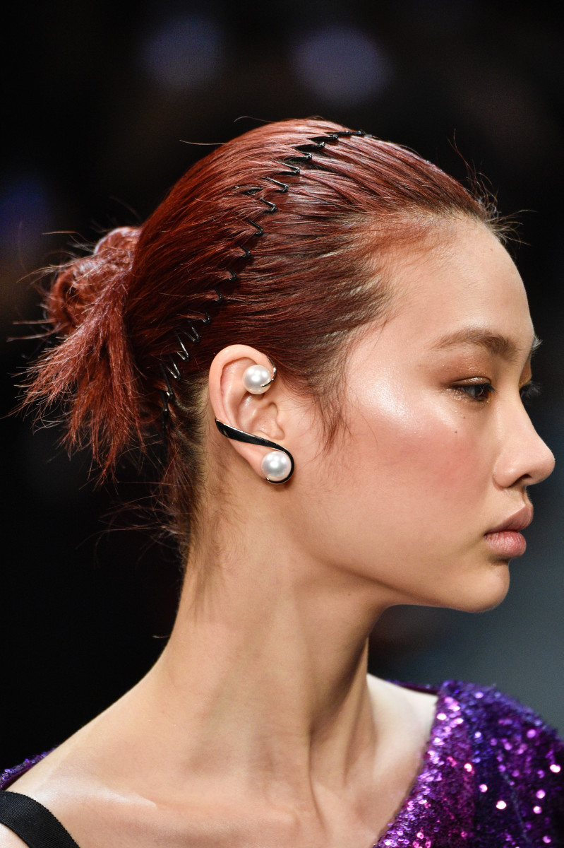 An earring from Prabal Gurung's Fall 2019 collection. Photo: Peter White/Getty Images