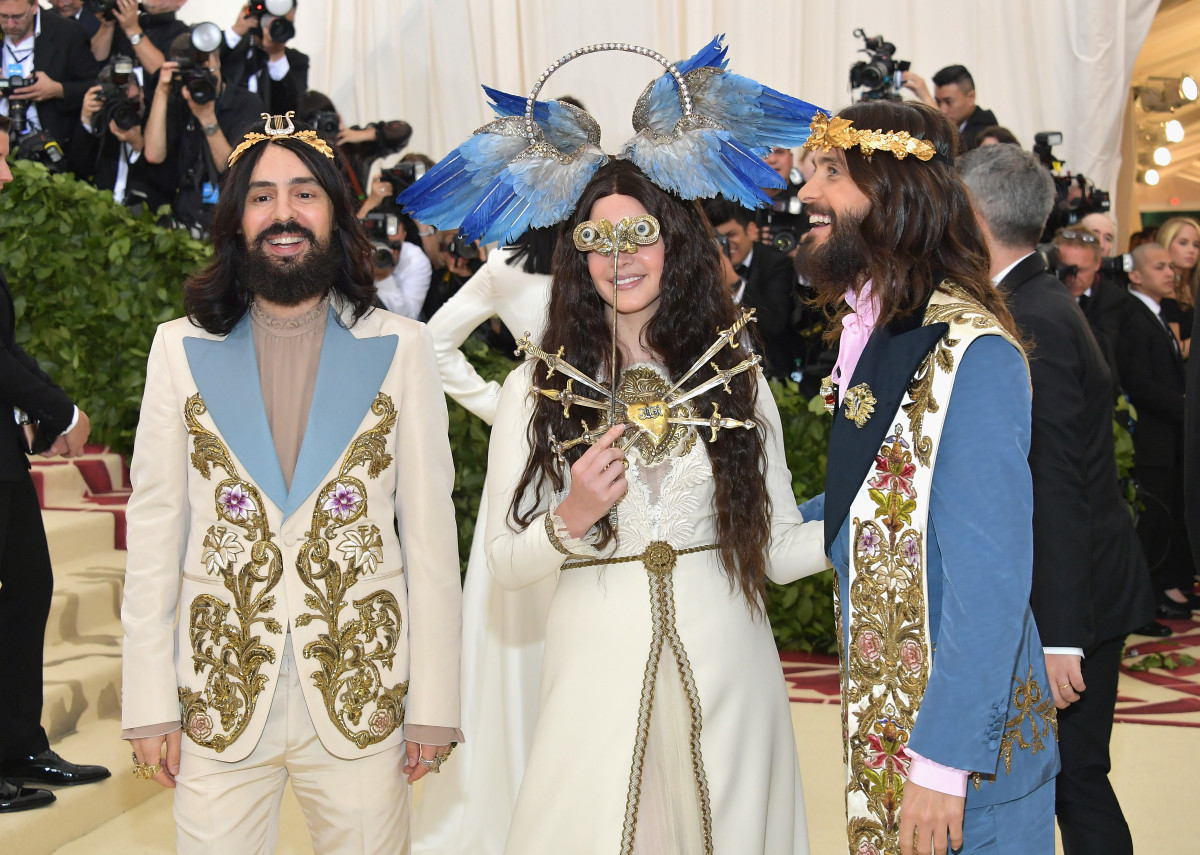 Alessandro Michele, Lana Del Rey and Jared Leto at the 2018 Met Gala. Photo: Neilson Barnard/Getty Images