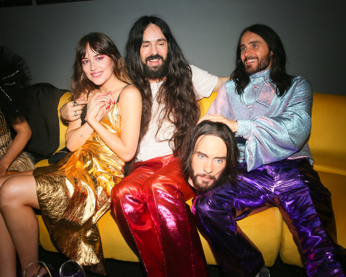 "Dakota Johnson, Alessandro Michele and Jared Leto at Gucci's ""Gucci vs. Guccy"" Met Gala 2019 after party. Photo: Courtesy of Gucci"