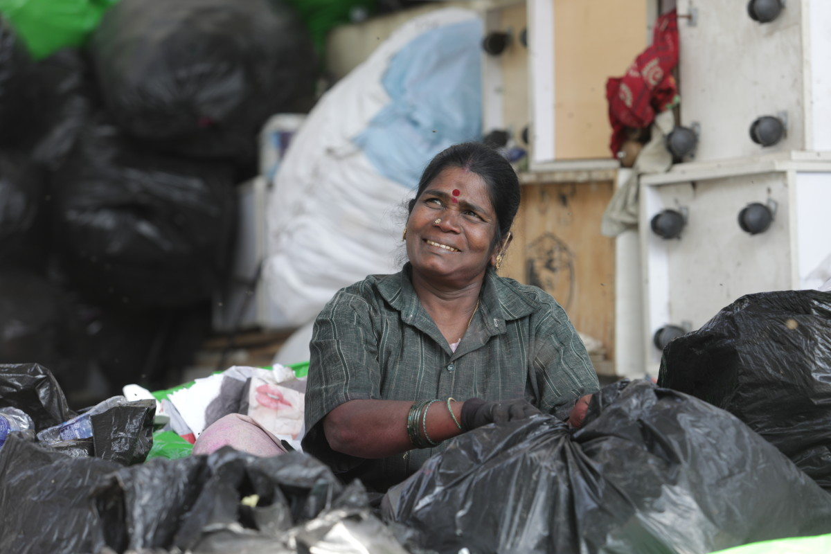 A waste picker at work in Bangalore, India. Photo: Courtesy of The Body Shop
