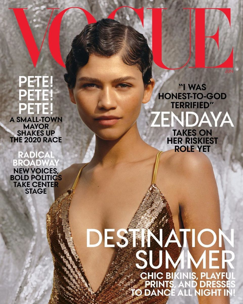 "Zendaya on the June 2019 cover of ""Vogue."" Photo: Tyler Mitchell"