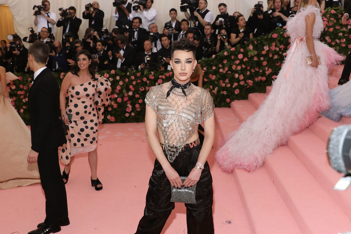 YouTuber James Charles in Alexander Wang at the 2019 Met Gala. Photo by Taylor Hill/FilmMagic