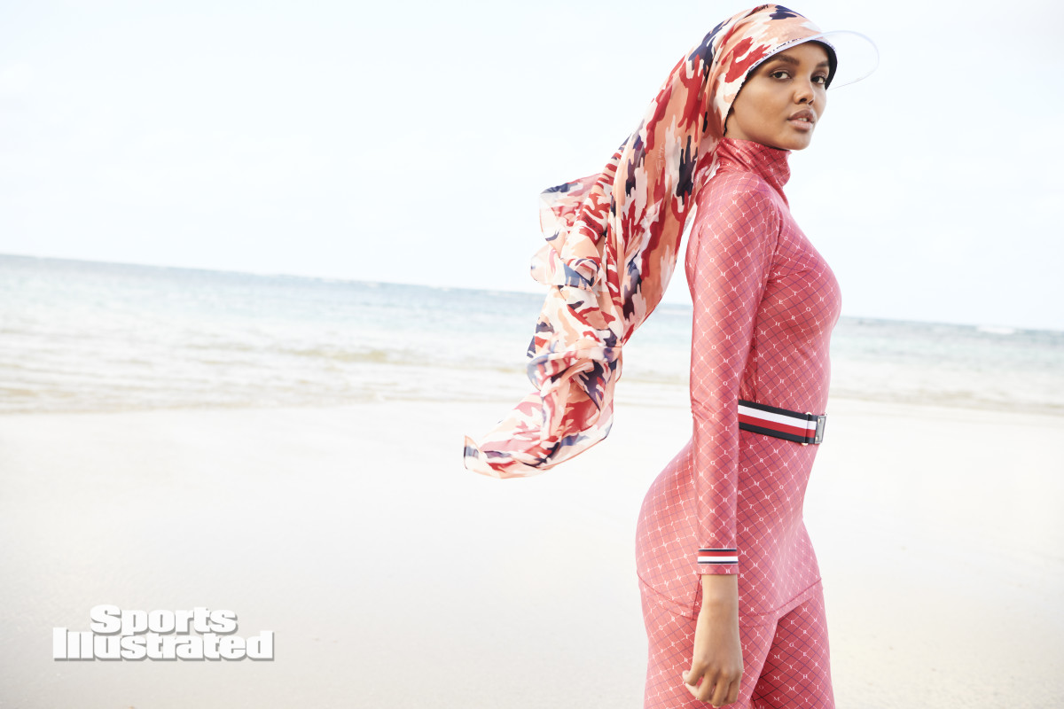 Halima Aden in custom Tommy Hilfiger burkini in the 2020 'Sports Illustrated' Swimsuit Issue.
