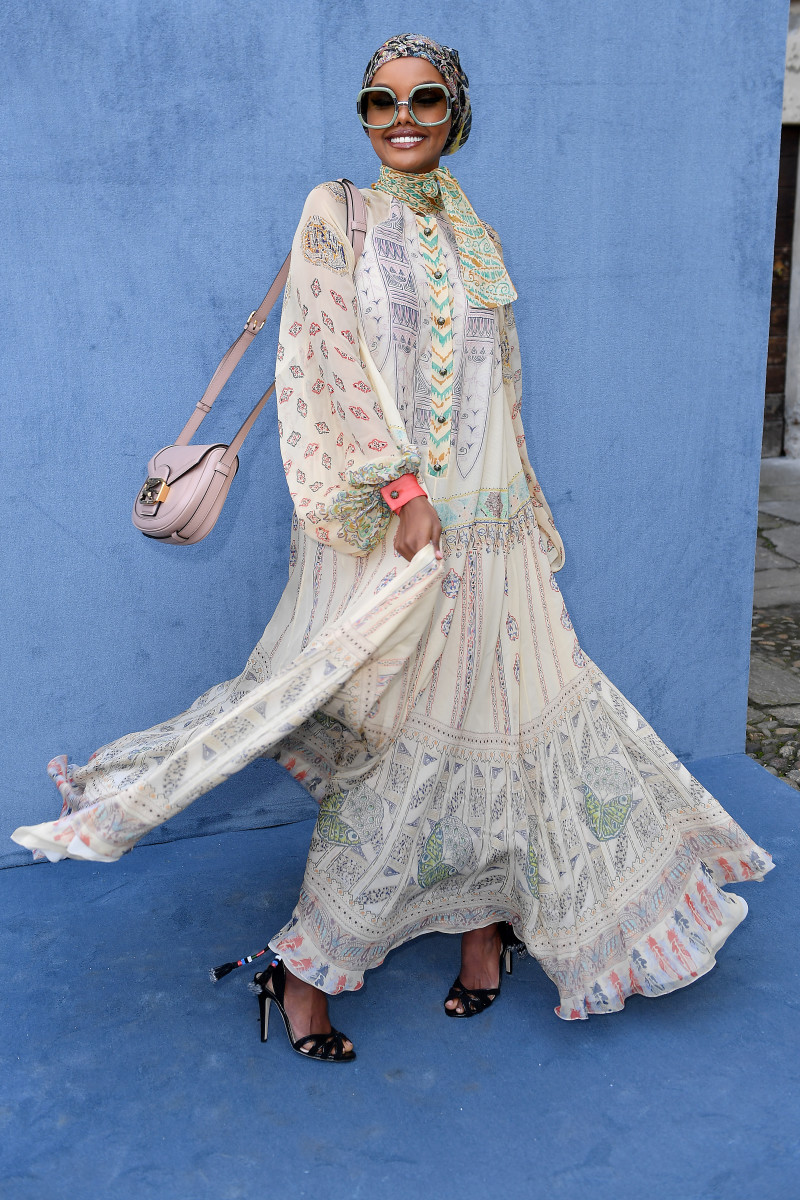 Halima Aden front row at the Etro runway show during Milan Fashion Week in January.