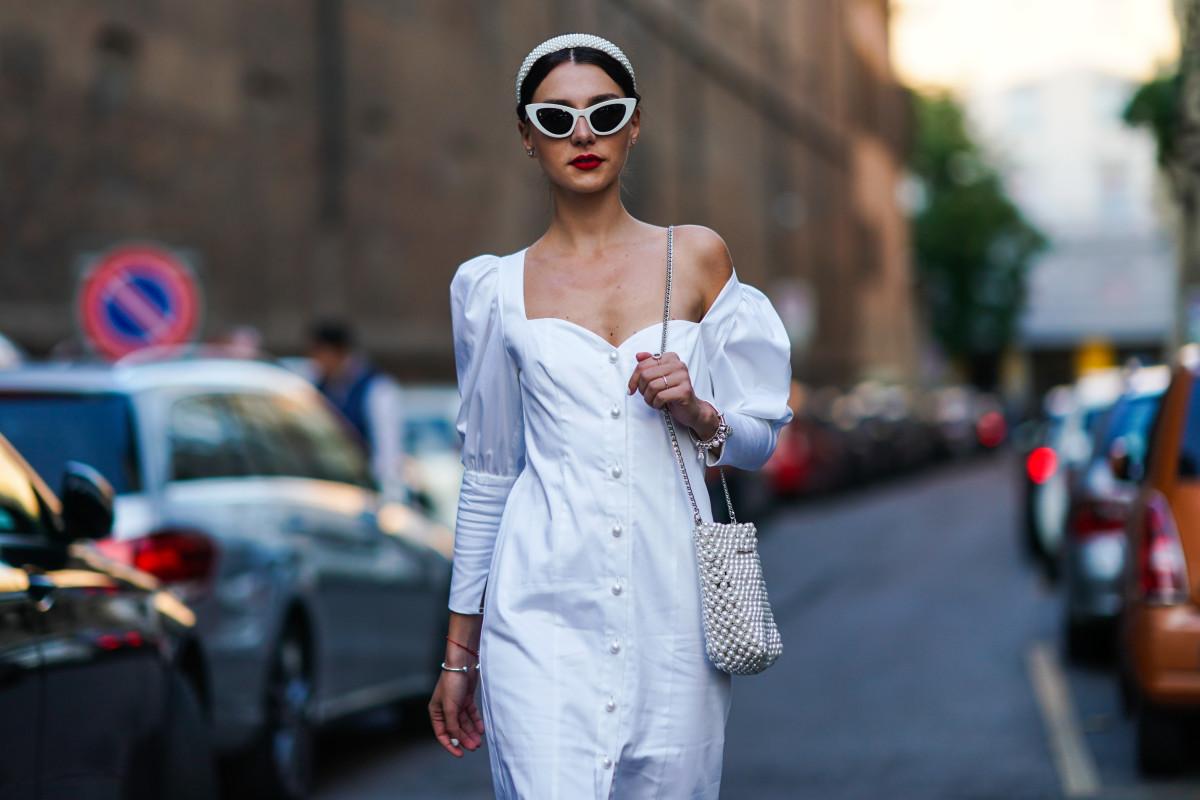Street Style Milan Fashion Week Spring 2020 White Sundress
