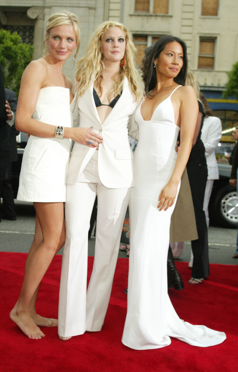 "Cameron Diax, Drew Barrymore and Lucy Liu at the 2003 premiere of ""Charlie's Angels 2: Full Throttle"" in Hollwood."