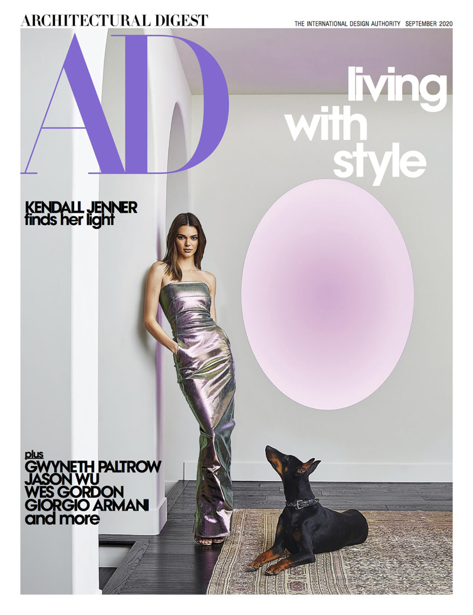 "Kendall Jenner on the cover of the September ""Architectural Digest' issue."