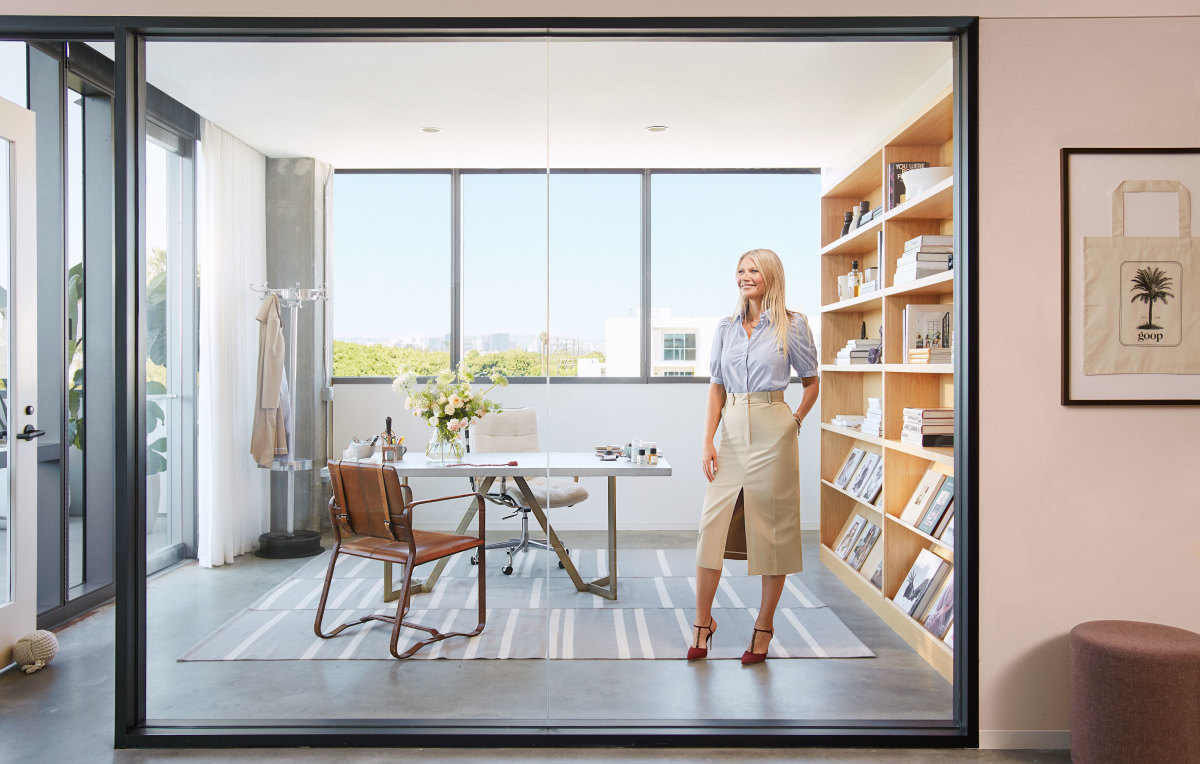 Gwyneth Paltrow in her office at the new Goop Headquarters.