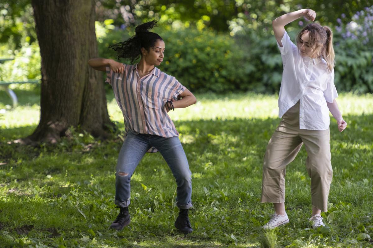 Liza Koshy as BFF Jasmine teaches awkward Quinn some moves in 'Work It.'
