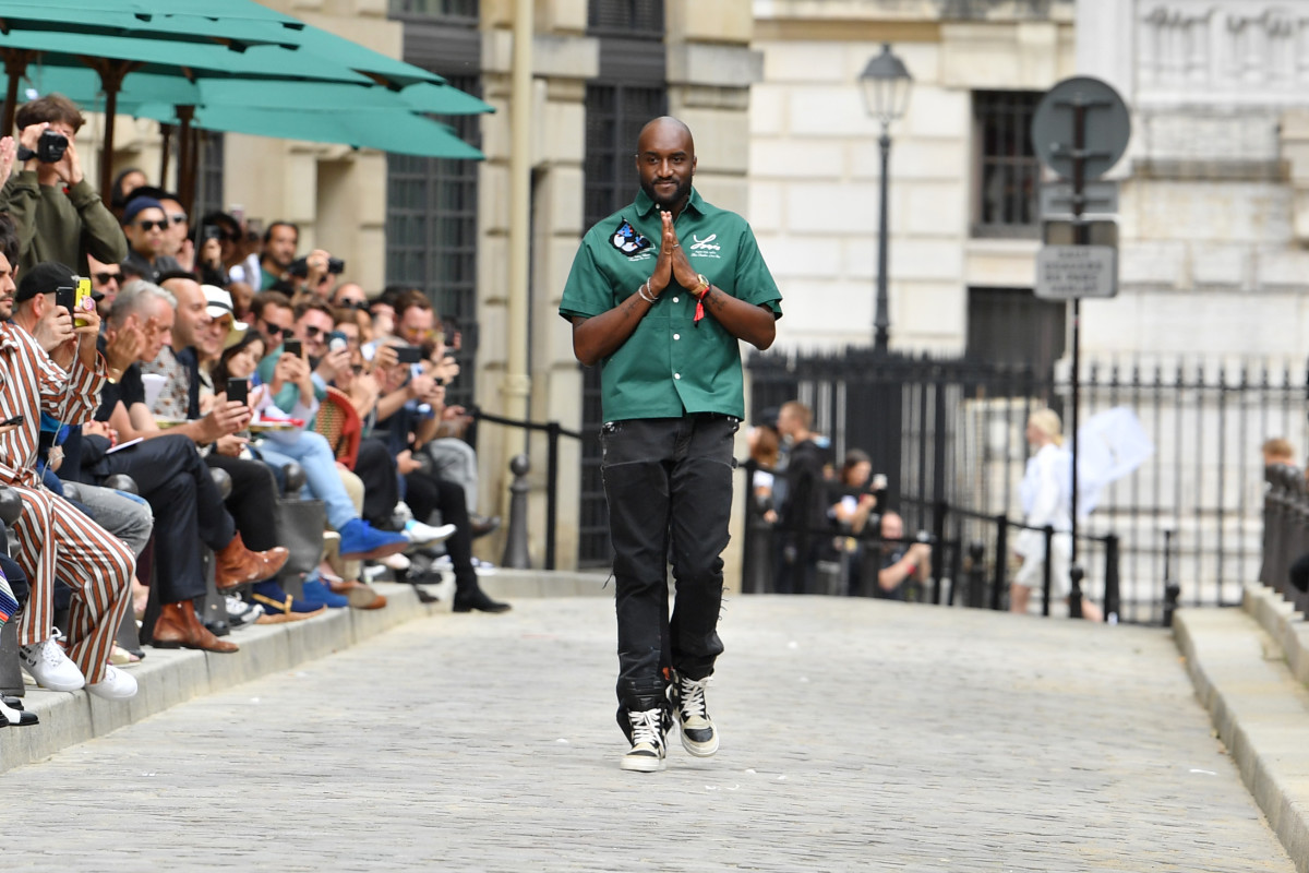 Virgil Abloh takes his bow at the Louis Vuitton Menswear Spring 2020 show in Paris.