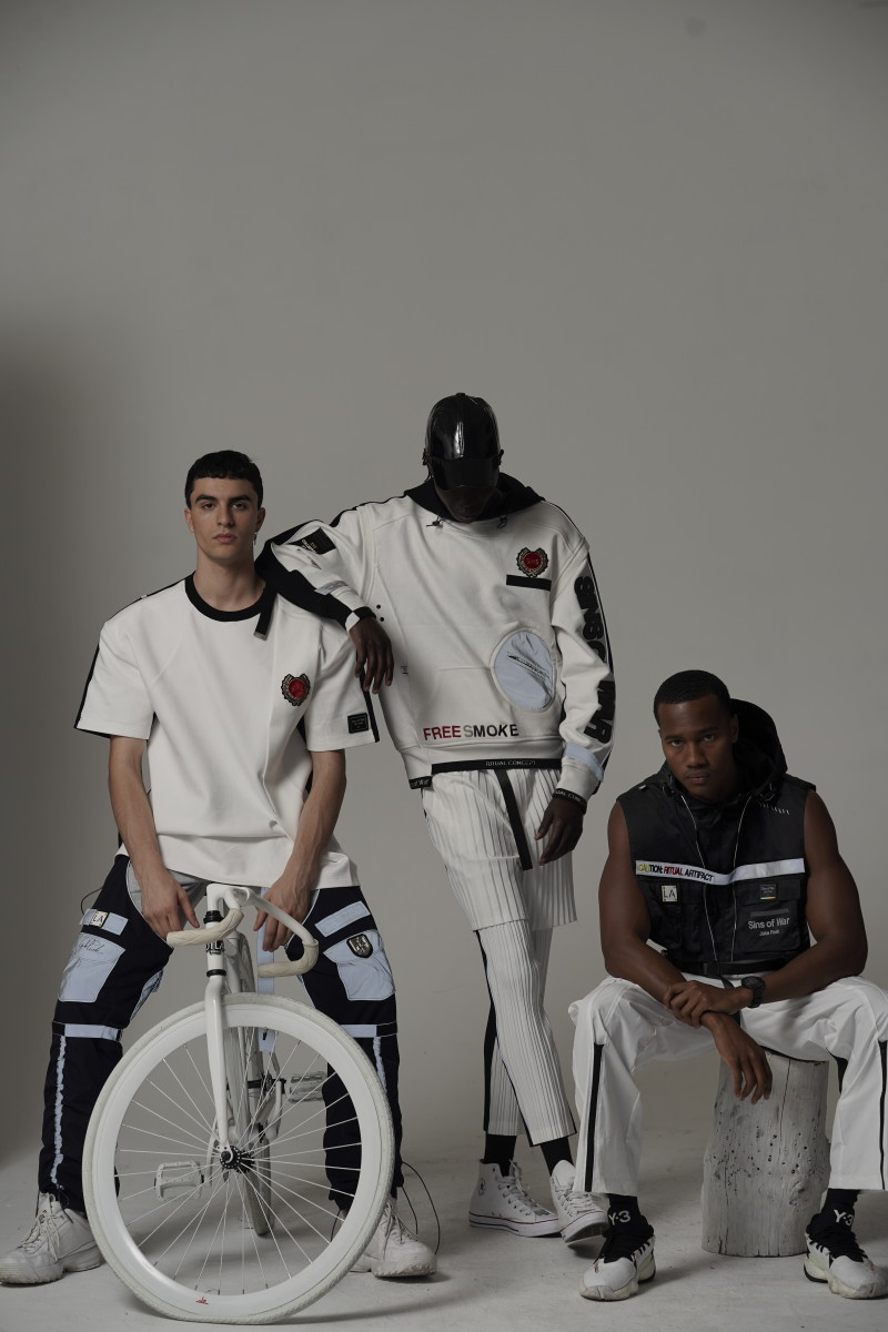 Looks from NISM designer Jake Peak, who was inspired to create luxe genderless streetwear based on the theme of tactical post-apocalyptic elements.