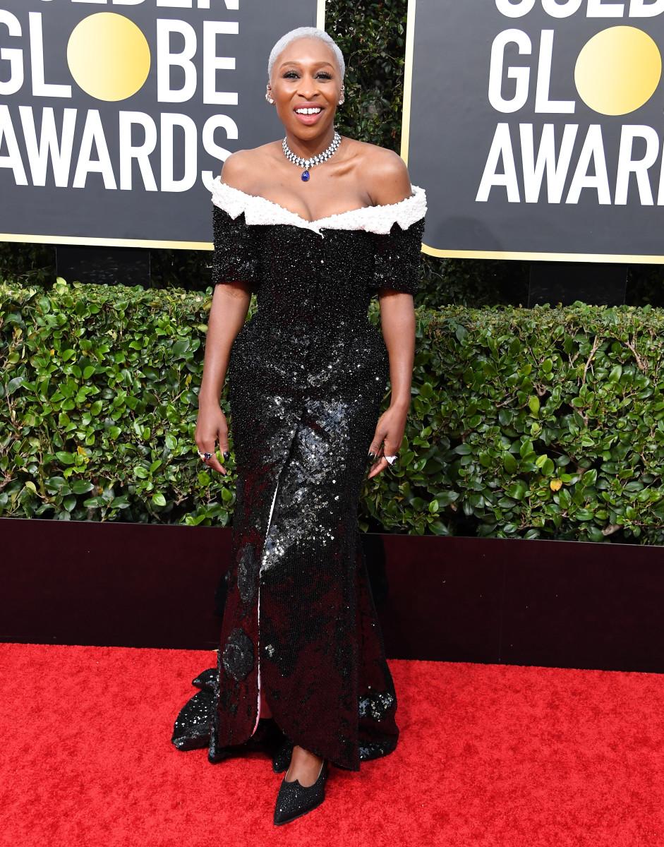 Celebrity Fashion: Cynthia Erivo Thom Browne Pudgy Gape Golden Globes 2020