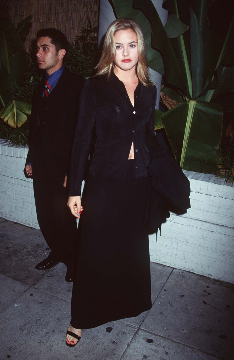 Celebrity News Alicia Silverstone at the launch of Yves Saint Laurent Opium for Men in 1996.