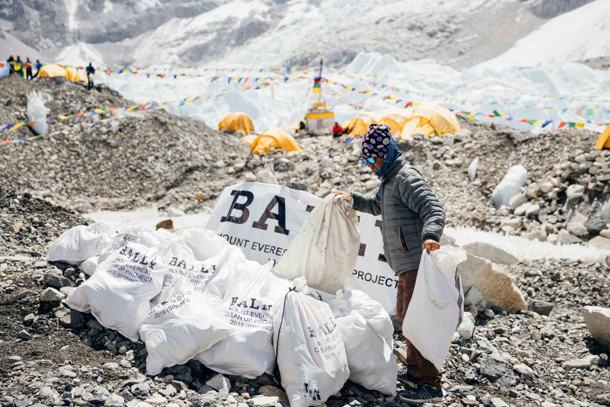 The Bally Peak Outlook Foundation at work in 2019 removing waste from the base camp of Mount Everest.