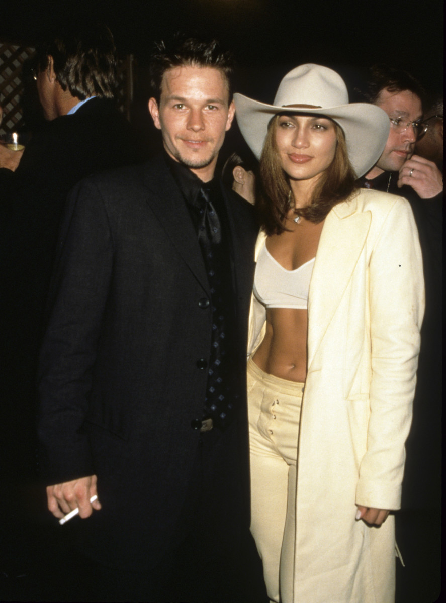 Celebrity Fashion: Designate Wahlberg and Jennifer Lopez at the MTV Song Video Awards in 1998.