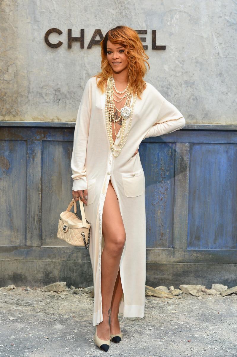 Rihanna Sexy Cardigan Dress Chanel Haute Couture Fall 2013