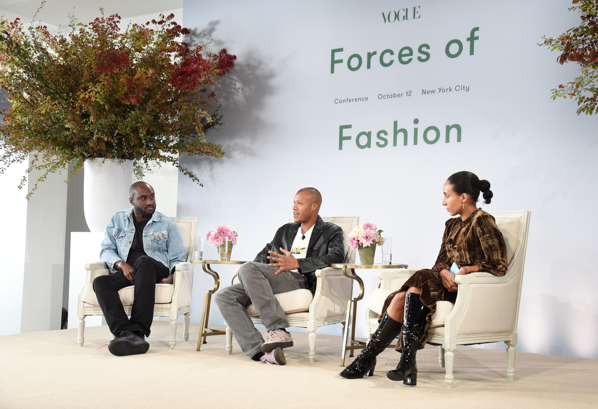 Virgil Abloh, Heron Preston and Chioma Nnadi at Vogue's Forces of Fashion Conference in 2017.