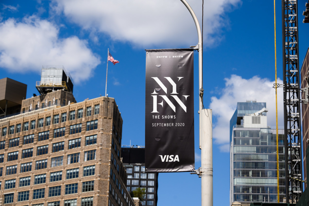 A NYFW: The Shows flag is seen near Spring Studios as New York City continues Phase 4 of re-opening, with additional restrictions.