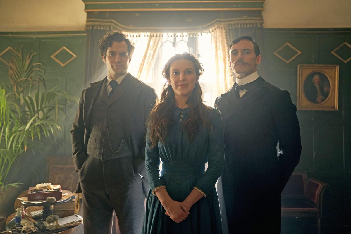 Meet the Holmeses: Sherlock (Henry Cavill), Enola (Millie Bobby Brown) and Mycroft (Sam Claflin).