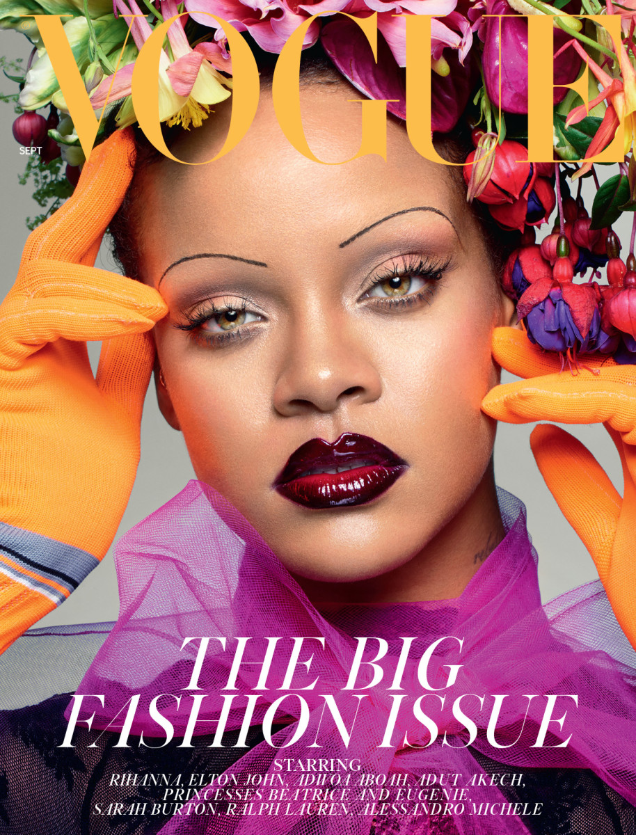 Rihanna for British Vogue featuring makeup by Ffrench.