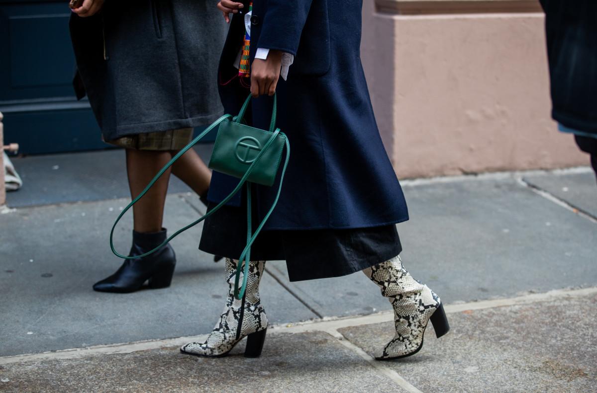 Telfar's Small Dark Olive Shopping Bag, pictured at New York Fashion Week.