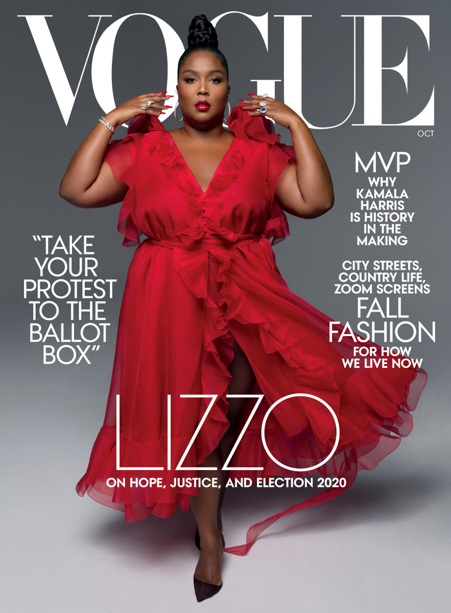 """Lizzo in Valentino on the October 2020 cover of """"Vogue."""""""