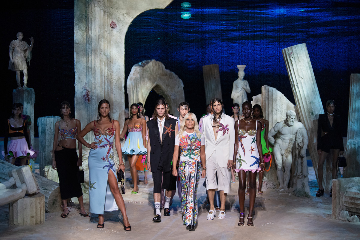 Looks from the Versace Spring 2021 collection.