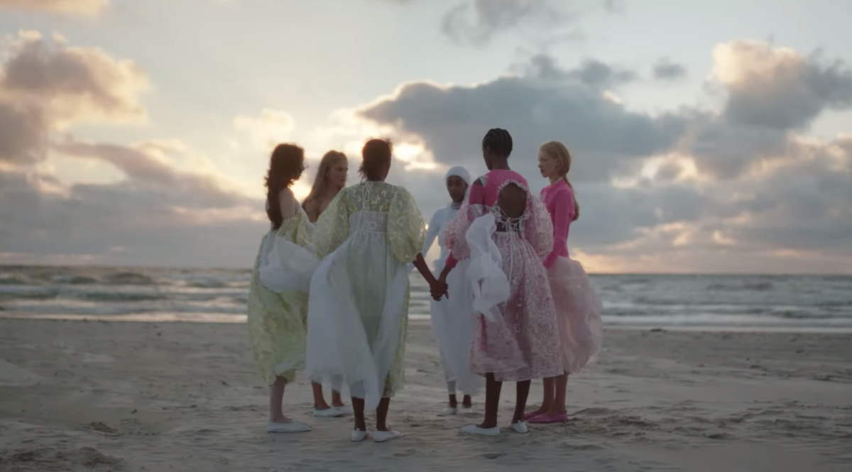 A scene from Cecilie Bahnsen's Spring 2021 film presentation.