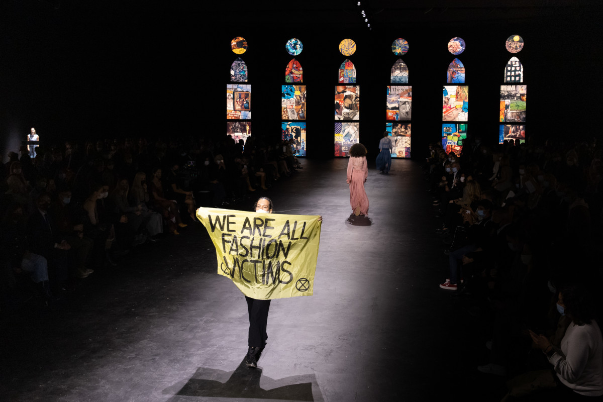 An Extinction Rebellion protestor gatecrashed the Dior Spring 2021