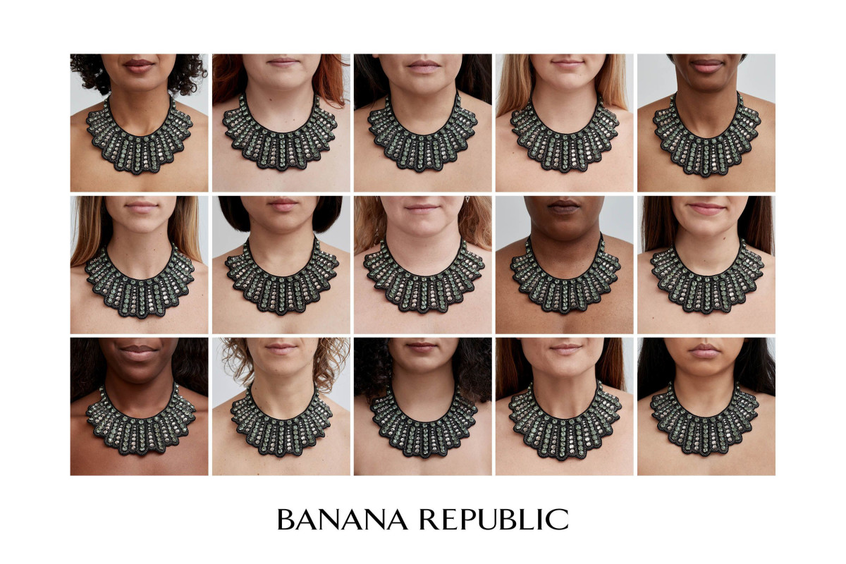 A campaign image for Banana Republic's Notorious Necklace.